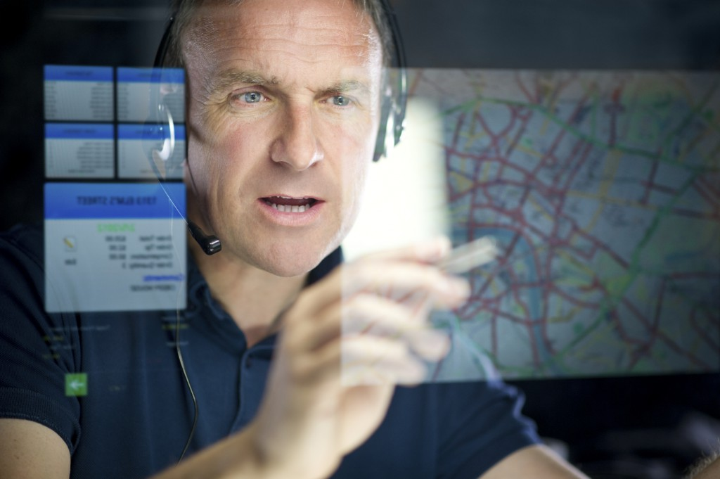 mature logistics call handler planning a route** graphics interface self generated **