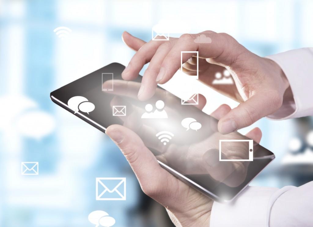 hand touching digital tablet, modern technology concept